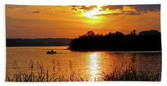Sunset Boater, Smith Mountain Lake Beach Towel
