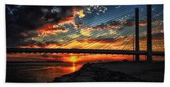 Sunset Bridge At Indian River Inlet Beach Towel