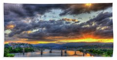 Sunset Bridges Of Chattanooga Walnut Street Market Street Beach Towel