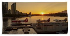 Sunset By The Seaplanes Beach Towel