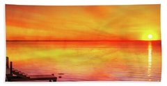Beach Towel featuring the digital art Sunset By The Shore by Randy Steele