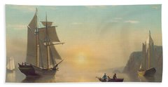 Sunset Calm In The Bay Of Fundy Beach Sheet by William Bradford