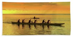 Sunset Canoeists Beach Towel by Scott Cameron