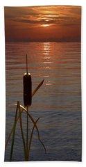 Sunset Cattail Beach Towel by Judy Johnson