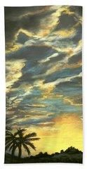 Beach Sheet featuring the painting Sunset Clouds by Anastasiya Malakhova