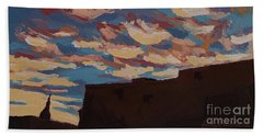 Beach Sheet featuring the painting Sunset Clouds Over Santa Fe by Erin Fickert-Rowland