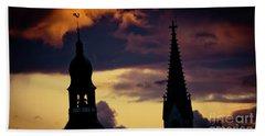 Sunset Cloudscape Old Town Riga Latvia Beach Towel