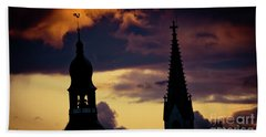 Sunset Cloudscape Old Town Riga Latvia Beach Towel