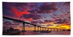 Sunset Crossing At The Coronado Bridge Beach Towel