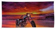 Beach Towel featuring the photograph sunset Custom Chopper by Louis Ferreira