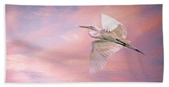 Sunset Egret Beach Towel
