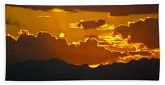 Beach Sheet featuring the photograph Sunset Fire by Colleen Coccia