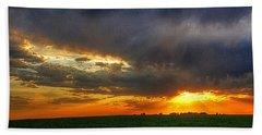 Sunset Fire On A Nebraska Field Beach Sheet by Karen McKenzie McAdoo