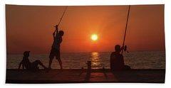 Sunset Fishermenr Beach Towel