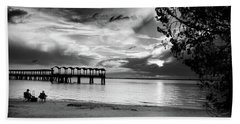 Sunset Fishing In Black And White Beach Towel