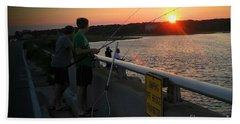 Sunset Fishing Off The Bridge Beach Towel