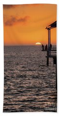 Beach Towel featuring the photograph Sunset Fishing by Ray Warren