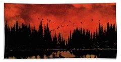 Sunset Flight Of The Ducks Beach Sheet by Andrea Kollo