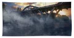 Sunset Fog At Caveman Bridge Beach Towel by Mick Anderson
