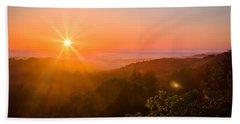 Sunset Fog Over The Pacific #1 Beach Sheet
