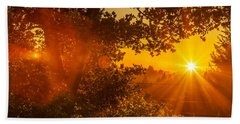 Sunset Fog Over The Pacific #3 Beach Towel