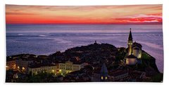Beach Sheet featuring the photograph Sunset From The Walls #3 - Piran Slovenia by Stuart Litoff