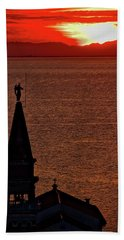 Beach Towel featuring the photograph Sunset From The Walls #4 - Piran Slovenia by Stuart Litoff