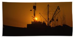 Beach Towel featuring the photograph Sunset Harbor by Marie Leslie