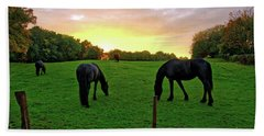 Sunset Horses Beach Towel