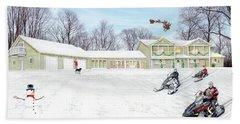 Sunset House At Christmas Beach Towel by Albert Puskaric