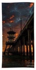 Sunset Huntington Beach Pier Beach Towel
