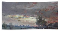 Sunset In A Rainy Day Beach Towel