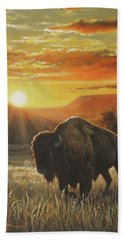 Sunset In Bison Country Beach Sheet by Kim Lockman
