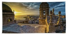 Beach Towel featuring the photograph Sunset In Cadiz Cathedral View From Levante Tower Cadiz Spain by Pablo Avanzini