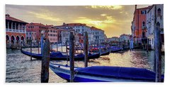Beach Towel featuring the photograph Sunset In Canal Grande by Fabrizio Troiani