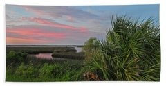 D32a-89 Sunset In Crystal River, Florida Photo Beach Towel