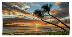 Sunset In Kaanapali Beach Towel by James Eddy