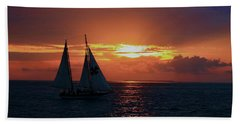 Sunset In Key West Beach Sheet by Ron Grafe
