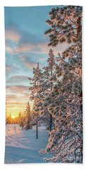 Beach Towel featuring the photograph Sunset In Lapland by Delphimages Photo Creations