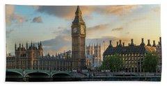Sunset In London Westminster Beach Sheet