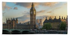 Sunset In London Westminster Beach Towel by James Udall