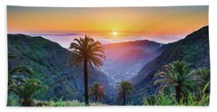 Sunset In The Canary Islands Beach Towel by JR Photography