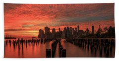 Beach Towel featuring the photograph Sunset In The City by Anthony Fields