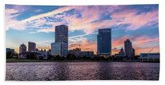 Beach Sheet featuring the photograph Sunset In The City by Randy Scherkenbach