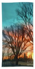 Sunset In The Country Beach Towel