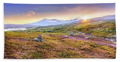 Beach Towel featuring the photograph Sunset In Tundra by Dmytro Korol