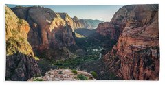 Sunset In Zion National Park Beach Towel by JR Photography