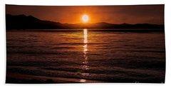 Sunset Lake 810pm Textured Beach Towel