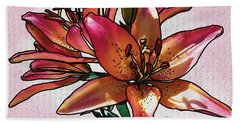 Sunset Lily Beach Towel