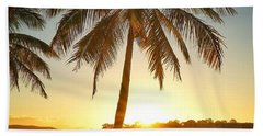 Beach Towel featuring the photograph Sunset Lovers Under Palm Tree And Down By The River by Keiran Lusk
